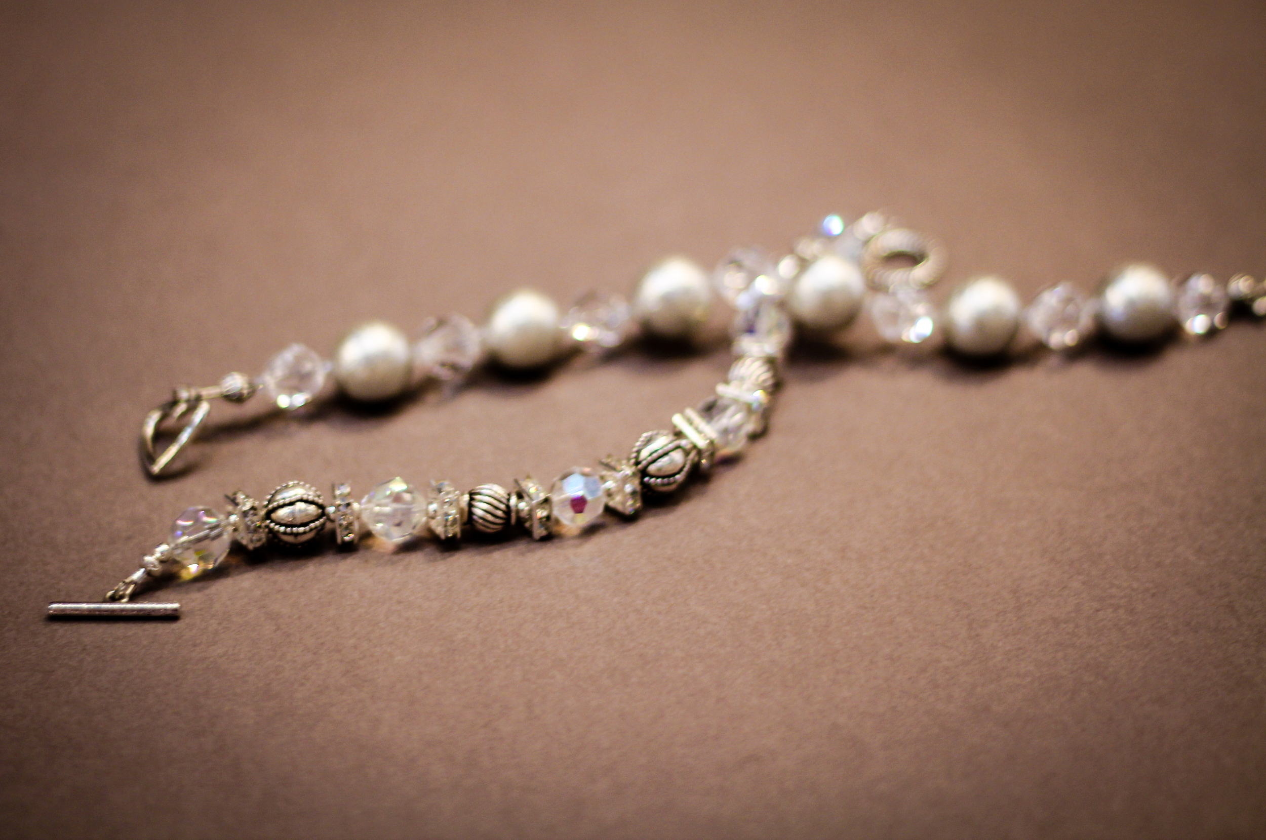 Crystal and pearl toggle bracelets