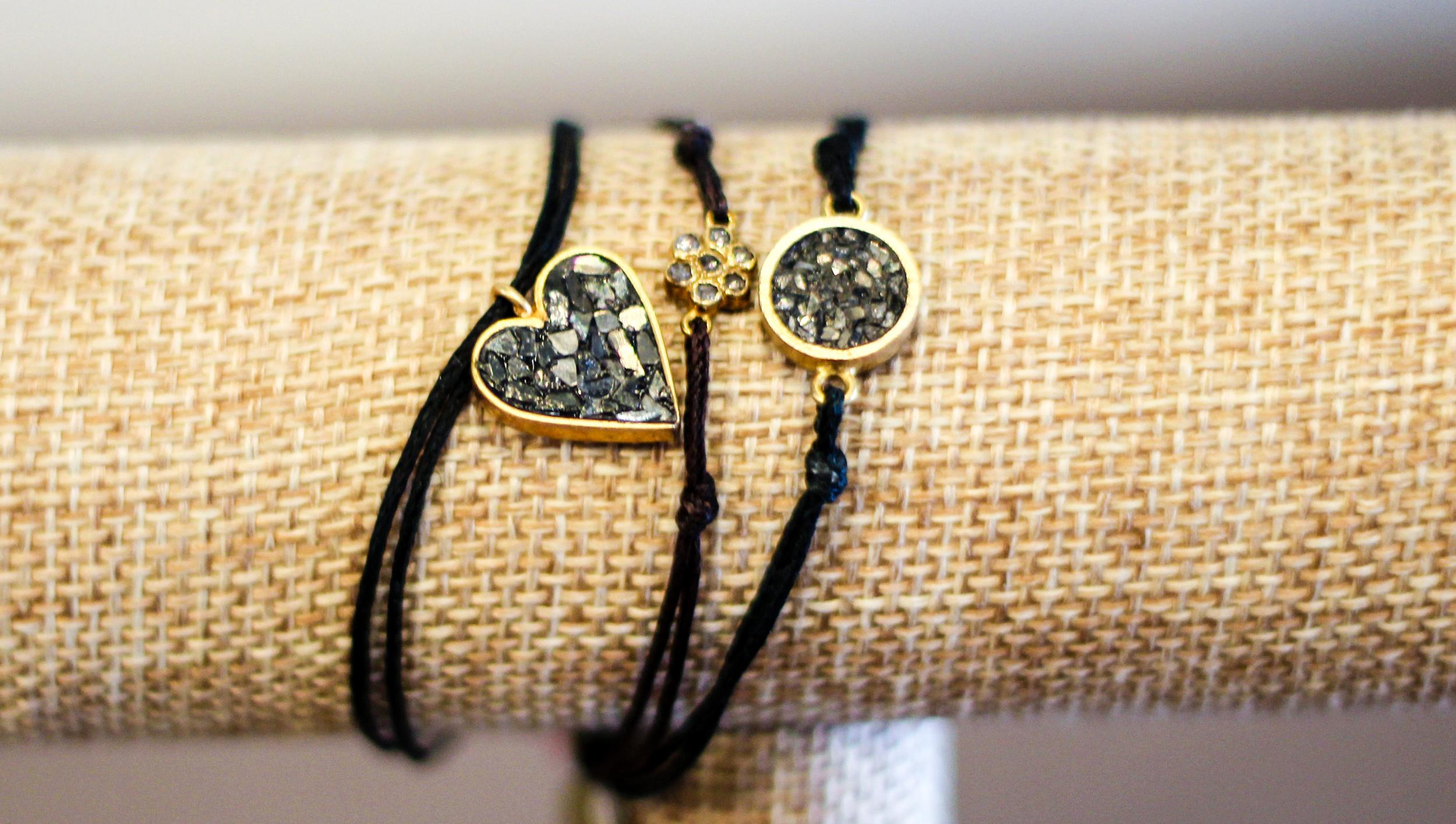 Black diamond bracelets handcrafted by Israeli artisans -$80