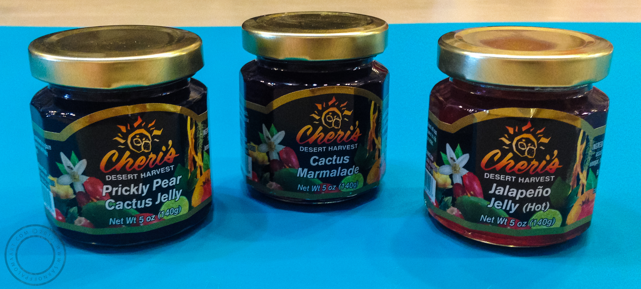 Assorted jellies by Cheri's Desert Harvest, pictured: Jalapeño Jelly, Prickly Pear Cactus Jelly, and Cactus Marmalade-$5 each