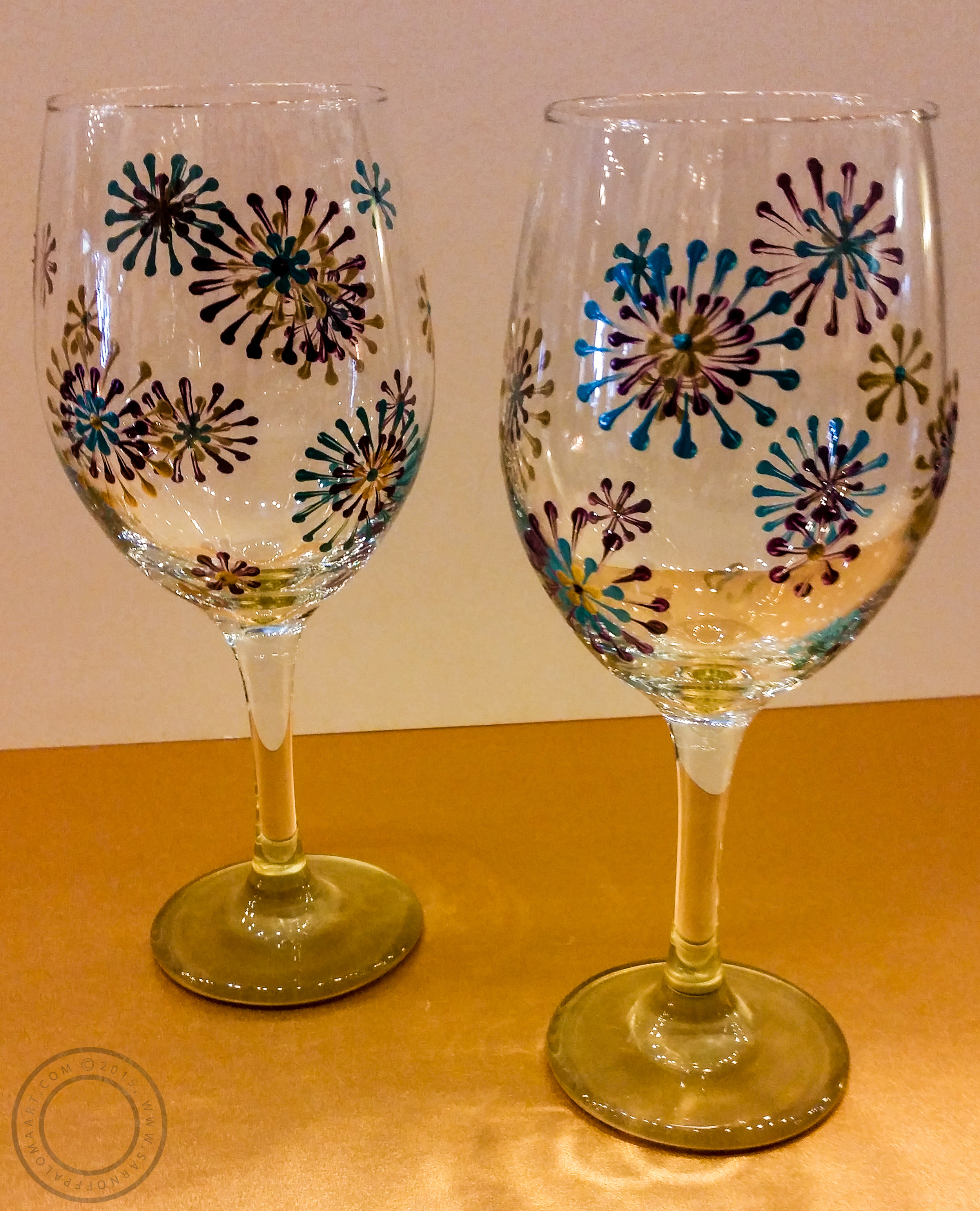 Painted wine glasses-$25 each