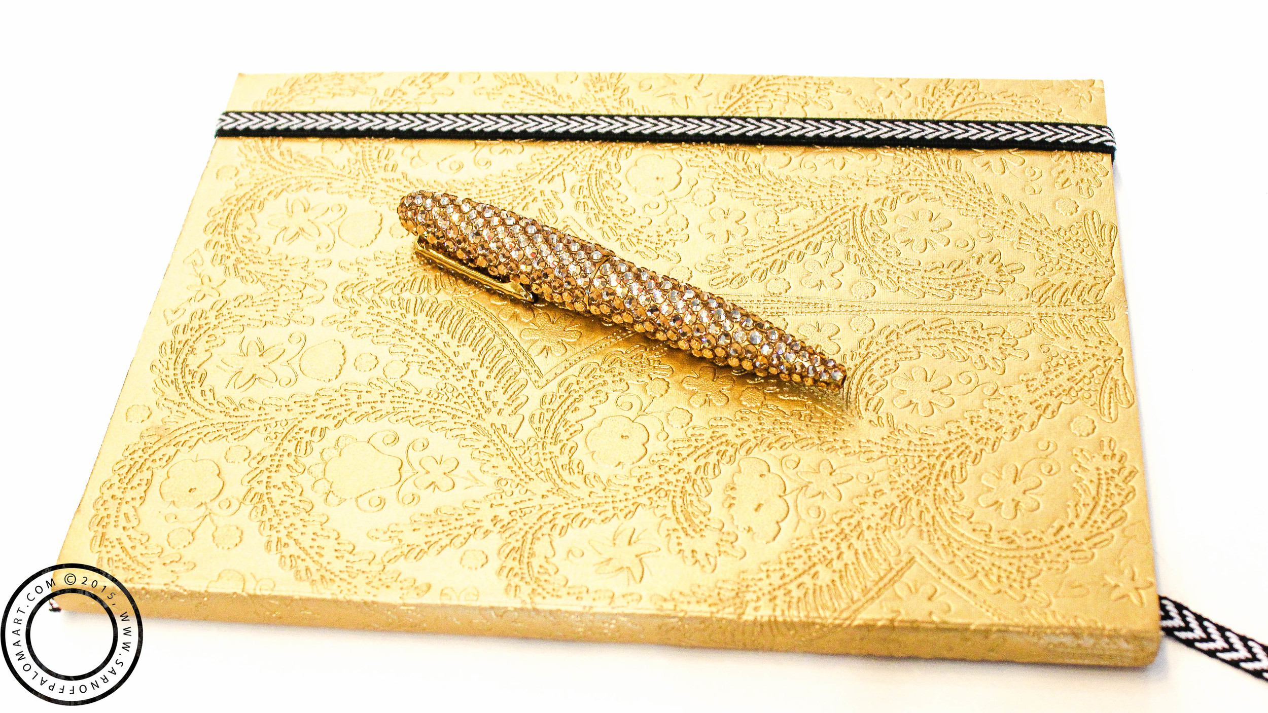 Christian Lacroix Embossed Gold Journal and Matching Swarvorski Crystal Pen
