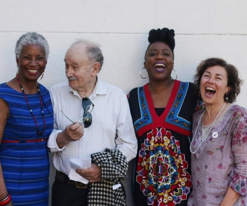 Race Talk Director Donna Maxey, Visual Artist Henk Pander, Artists Velynn Brown, and Story Midwife/Vanport Mosaic Co-director Laura Lo Forti ( Photo by Emmalee McDonald ).