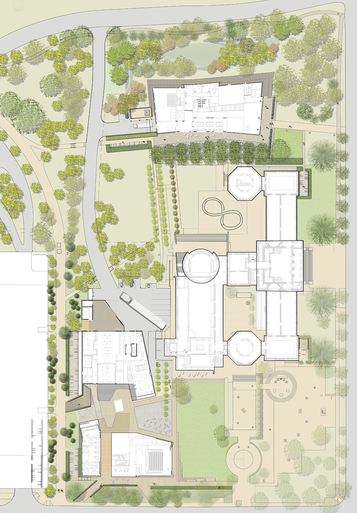 O|CB's Arts Precinct Master Plan for Stanford University showing the Anderson to the north