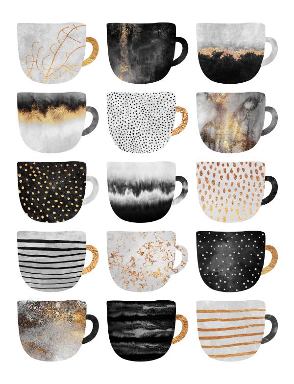 Pretty Coffee Cups 3 - White