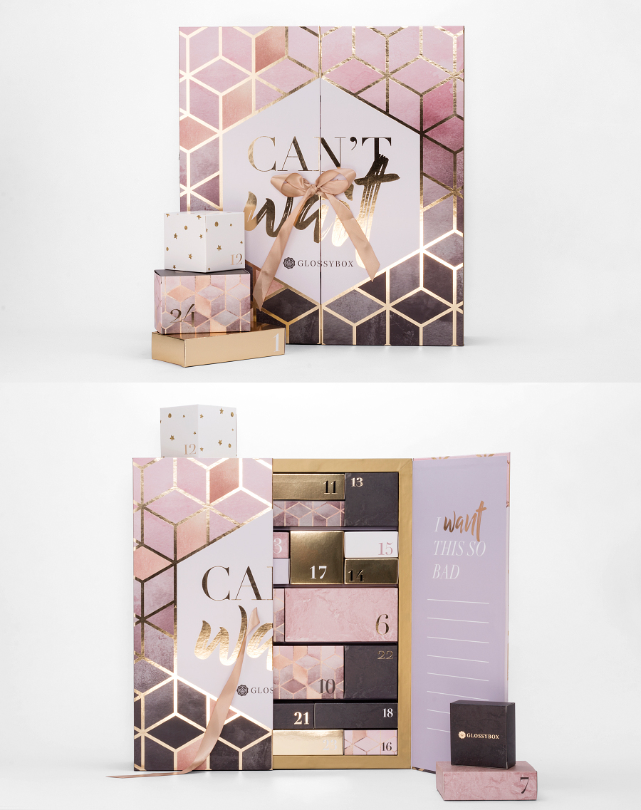 "Glossybox.de used my ""Pink Grey Gradient Cubes"" for their 2017 advent calendar."