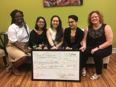 Amirah Hunt, Program Manager of GirlGov, Serena Zets, Gabriella Gubitosi, anmd Alexandra Plummer (members of GirlGov), and Brandi MaucK Phillips of 100 Women Pittsburgh