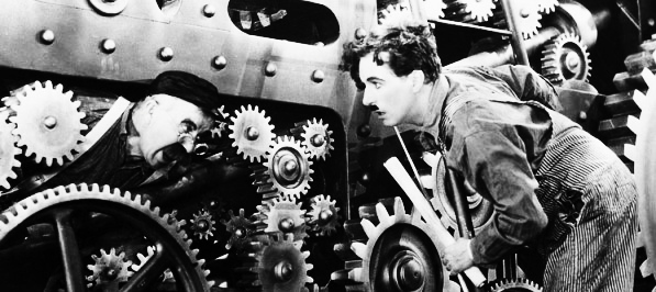"""Filme """"Tempos Modernos"""", 1936."""