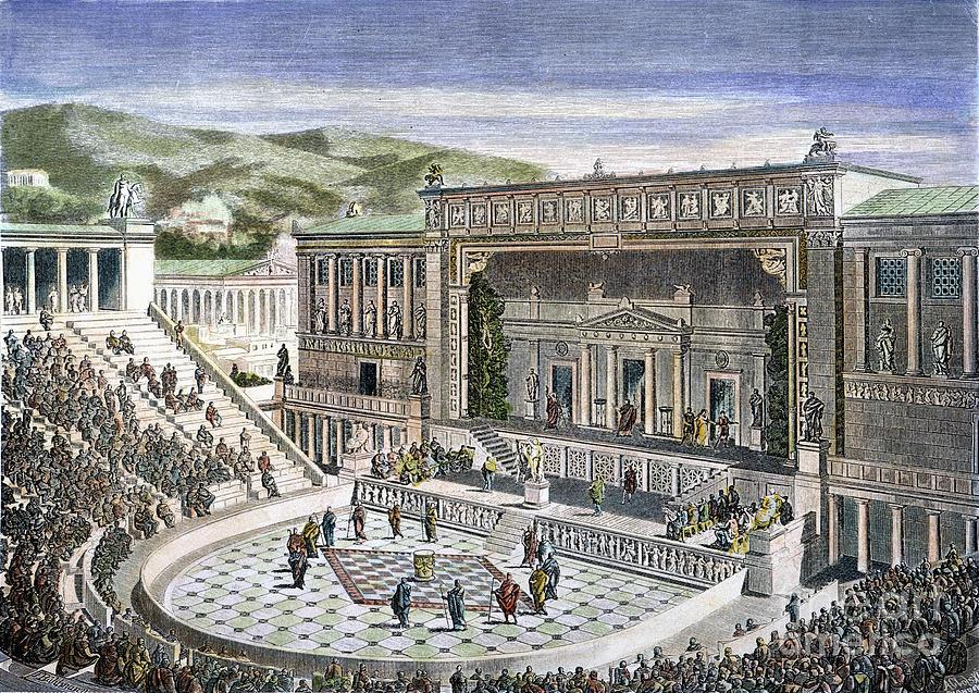 Representação de um teatro grego