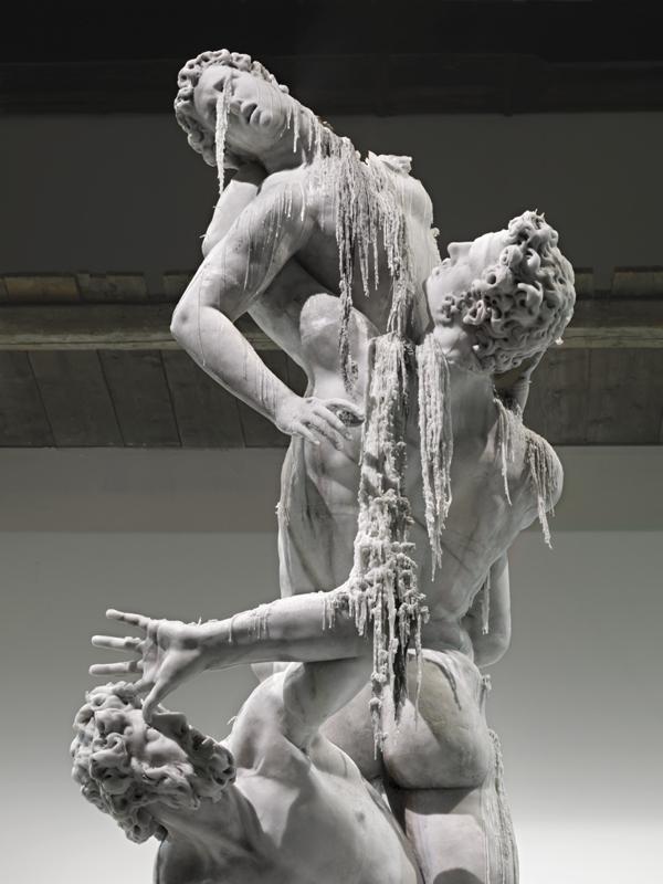 """Rape of the Sabine women"" replica in melting wax by Urs Fisher. 2011."
