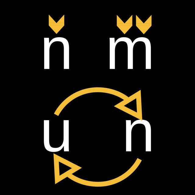 Helvetica: traços semelhantes e símbolos invertidos.