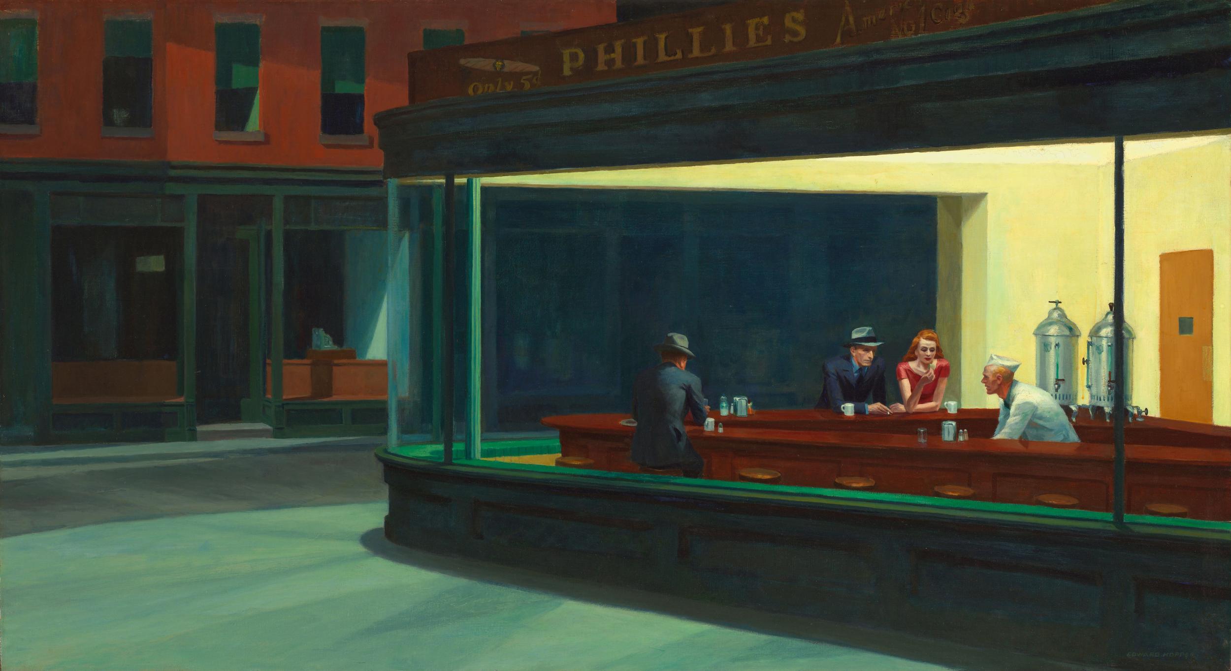 """""""Nighthawks"""". Edward Hopper, 1942. Oil on canvas."""