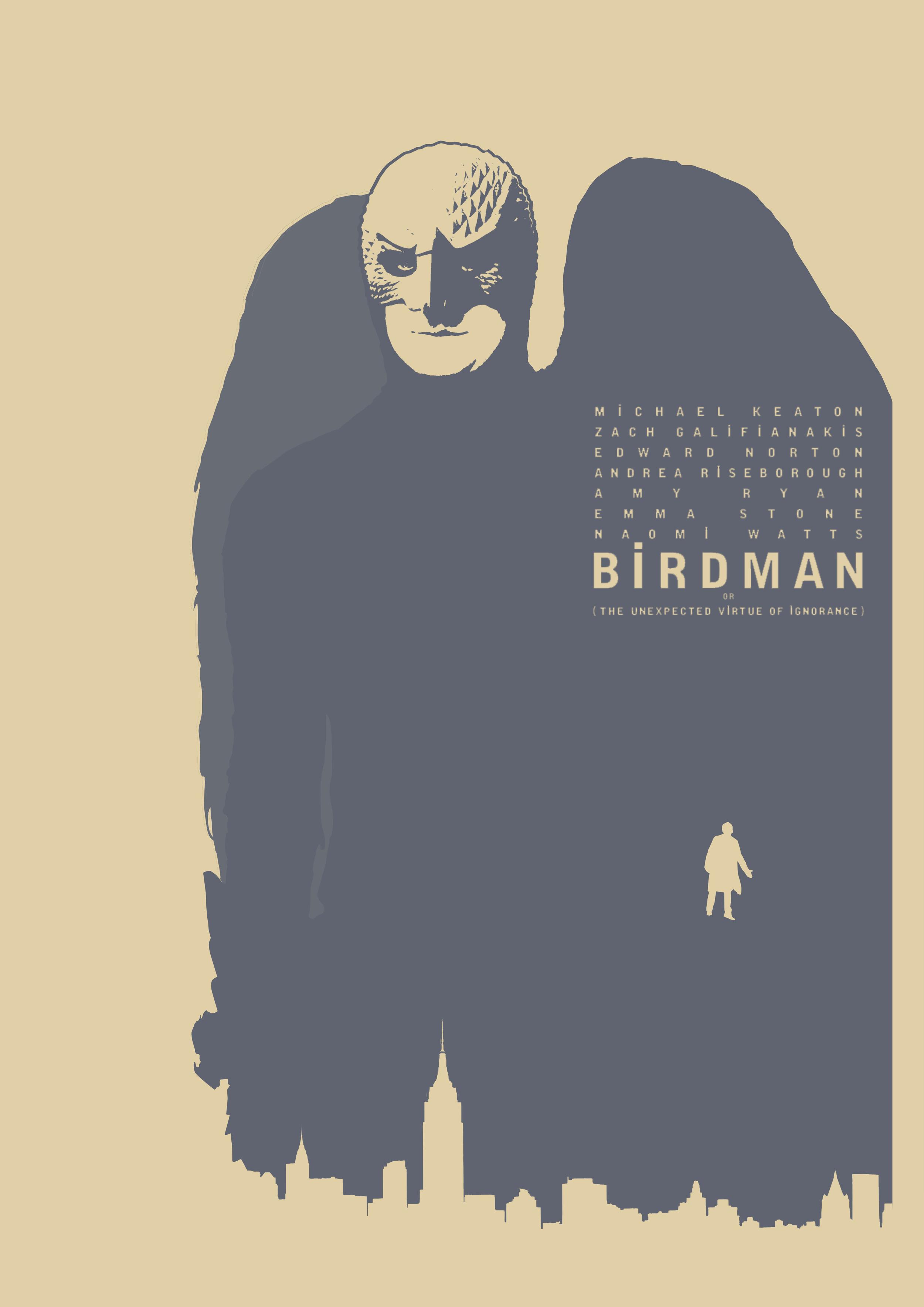 Birdman - Pôster minimalista. Por Lewis Dowsett
