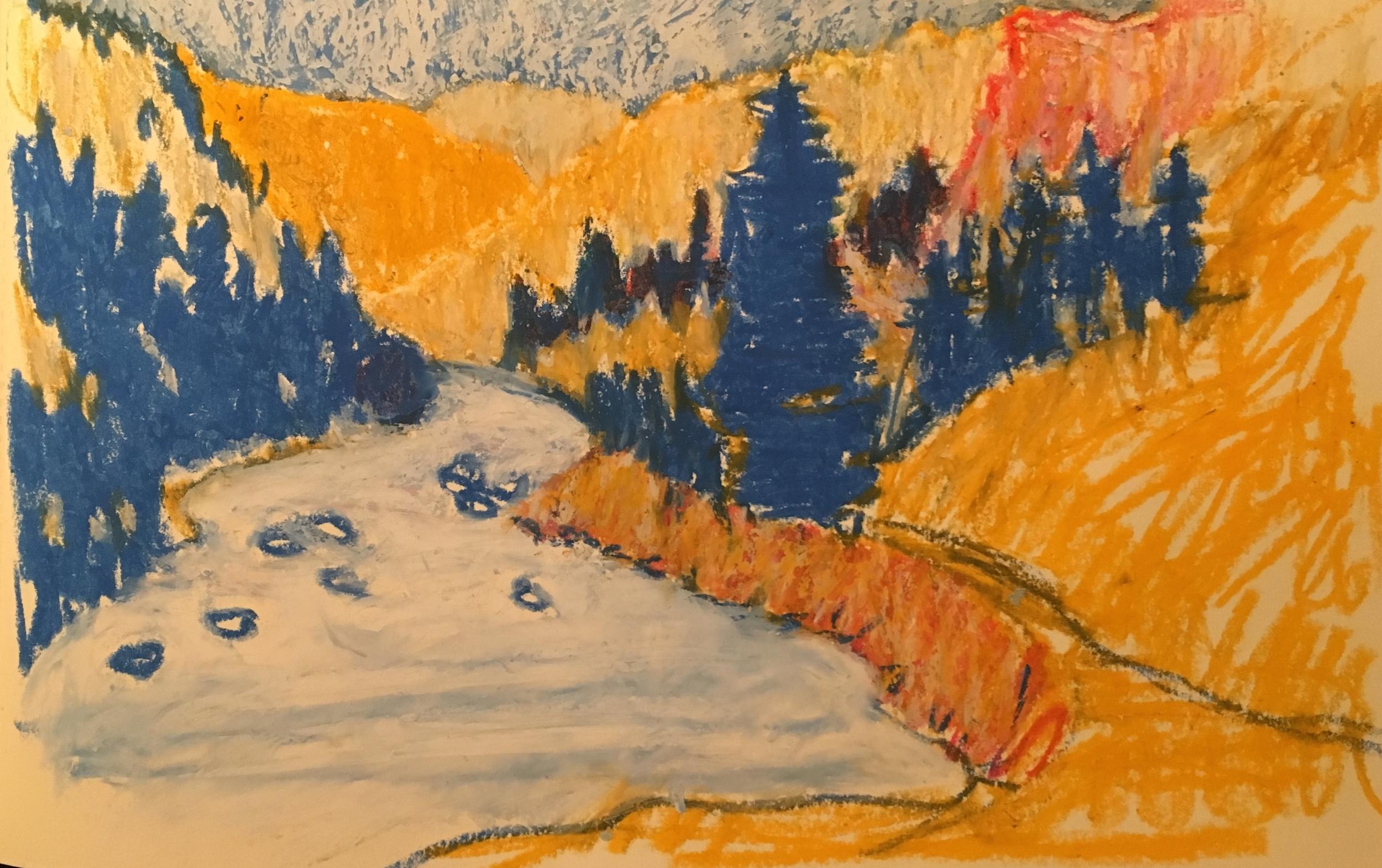 travel sketches, oil pastel — Lori Ryker Art