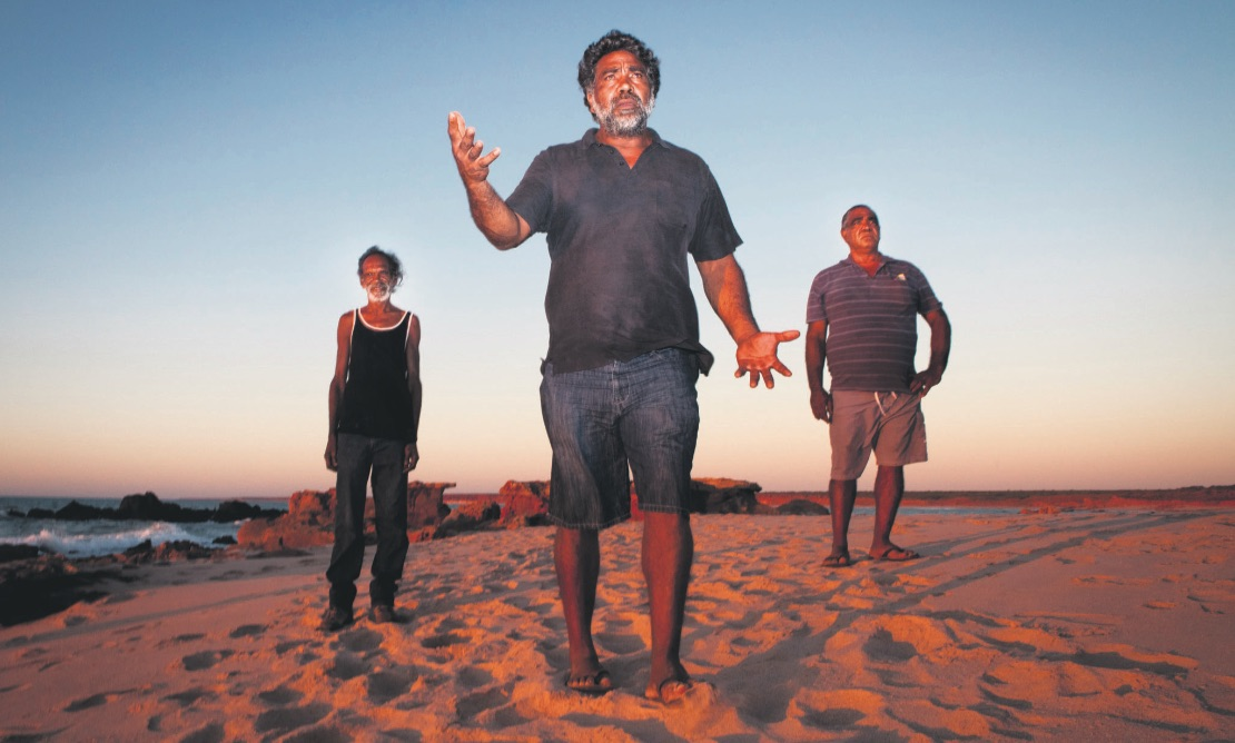 Richaqd Hunter (L), Joseph Roe (C) and Phillip Roe (R) - Walmadany traditional law custodians. Image: Damian Kelly.