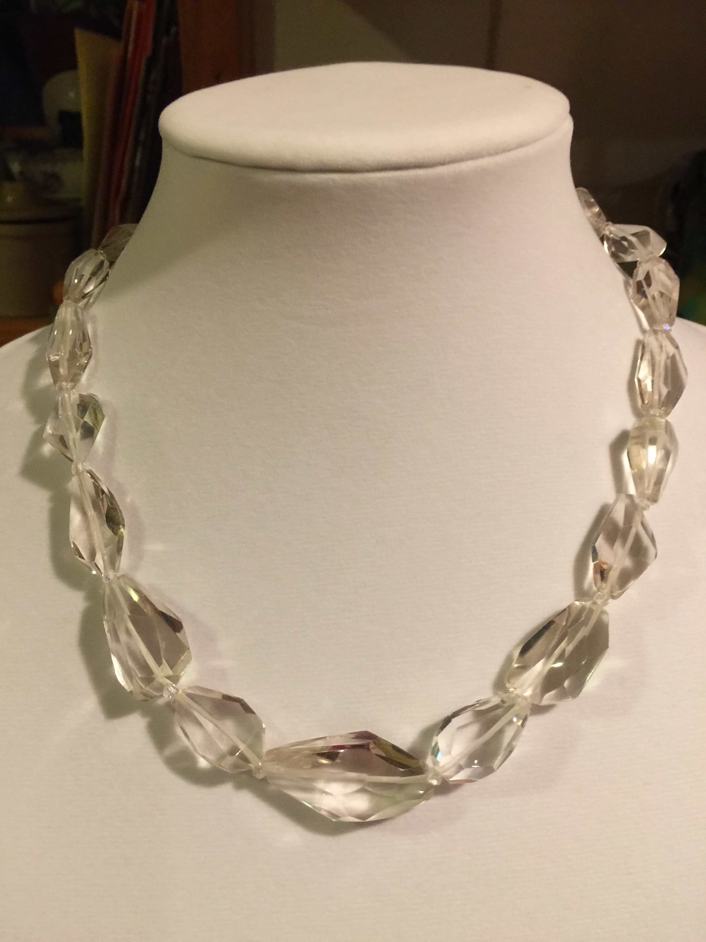 Clear quartz necklace  Faceted clear quartz with glass beads and handmade sterling silver clasp.