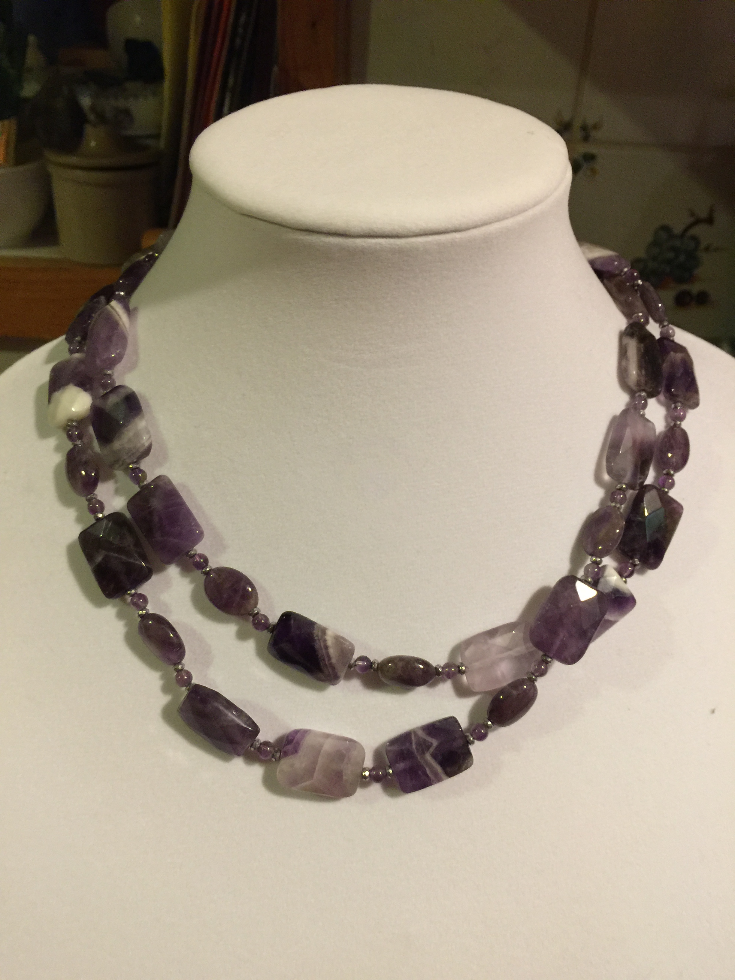amethyst NECKLACE  Long amethyst necklace with handmade sterling silver clasp.