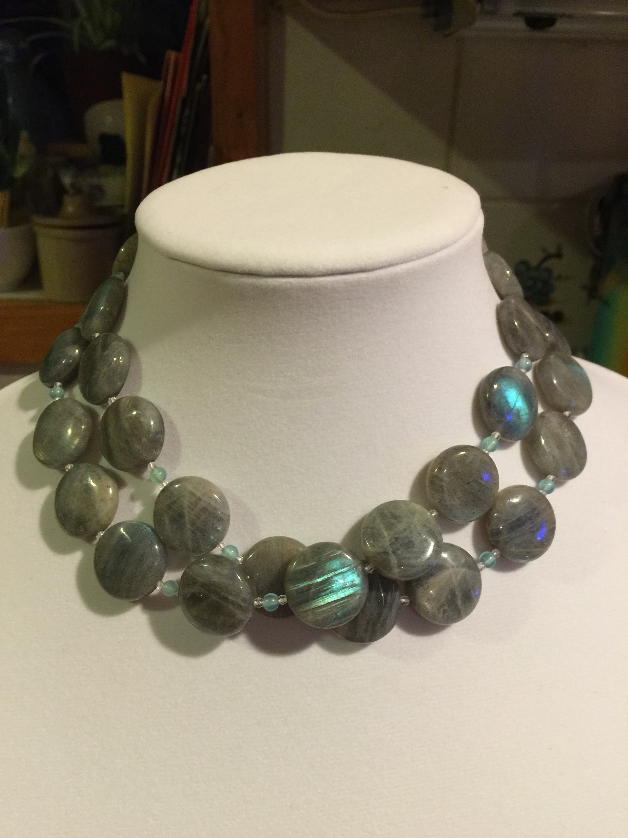 labradorite NECKLACE  Long labradorite necklace with aqua agate beads and glass beads. Handmade sterling silver clasp.