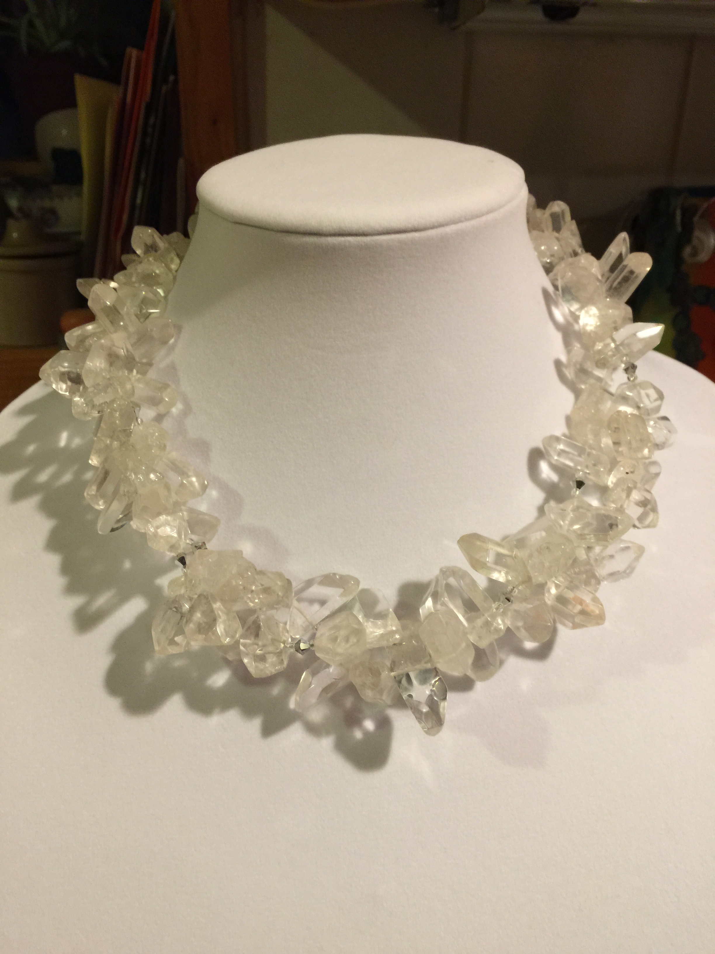 double QUARTZ NECKLACE  Double strand of natural clear quartz crystals, glass beads and a handmade sterling silver clasp for each strand.