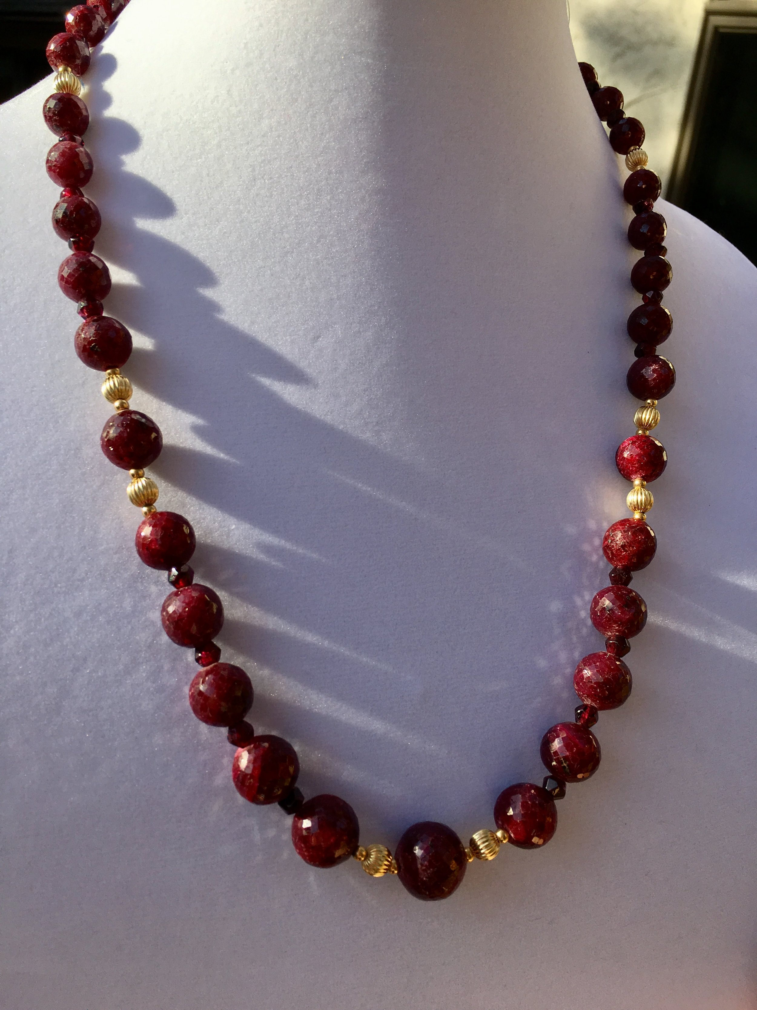 ruby NECKLACe (SOLD)  Ruby necklace with 14k gold beads and handmade gold filled clasp.