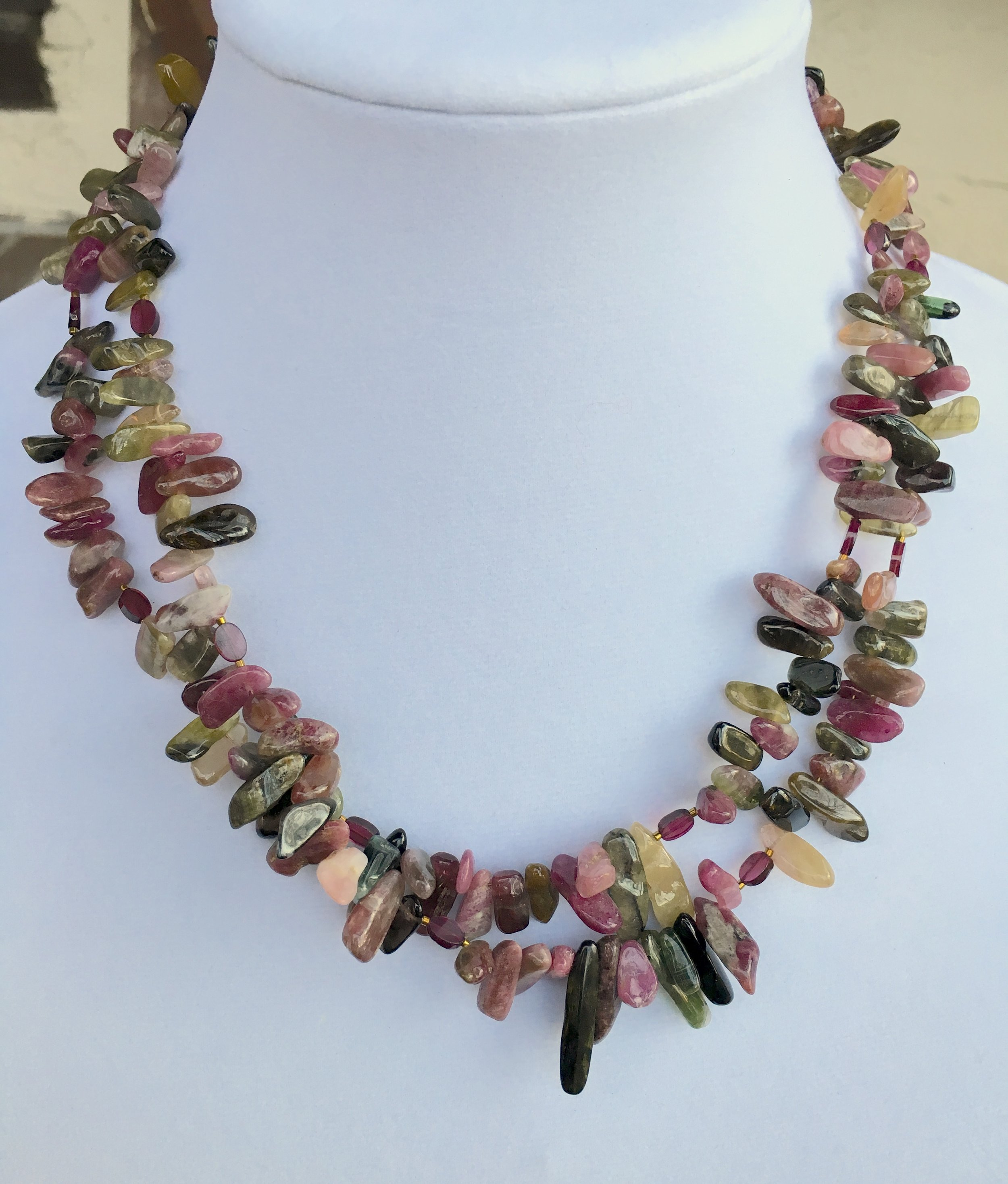 Tourmaline NECKLACe  Double strand Tourmaline sliver necklace. Approx. 20in. Gold Filled clasp. $325