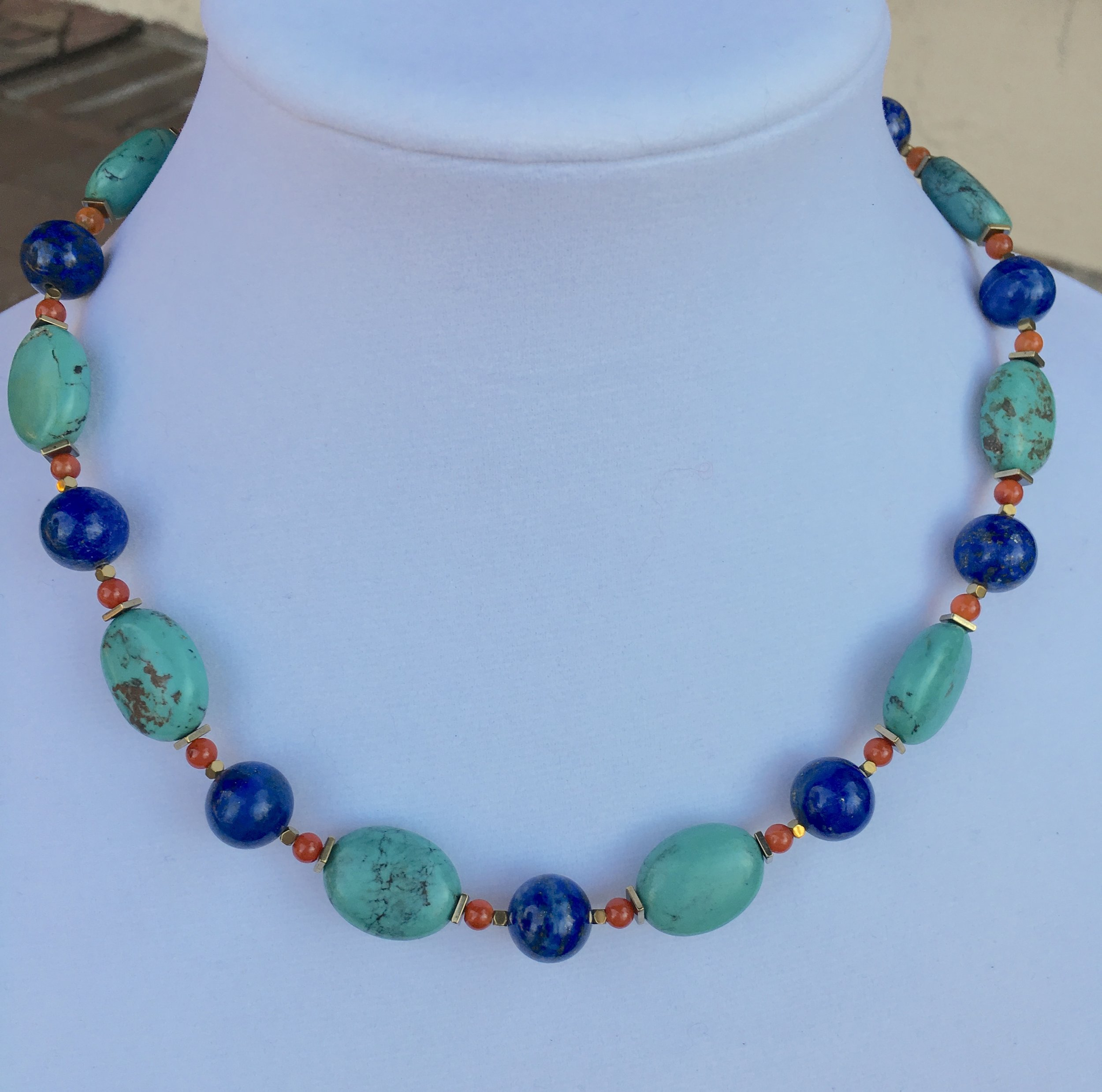 lapis, turquoise & carnelian egyptian color motif NECKLACE  12mm lapis lazuli round beads,15 x 20 mm turquoise oval beads,5 mm carnelian round beads.Gold filled clasp. 19 in. $500