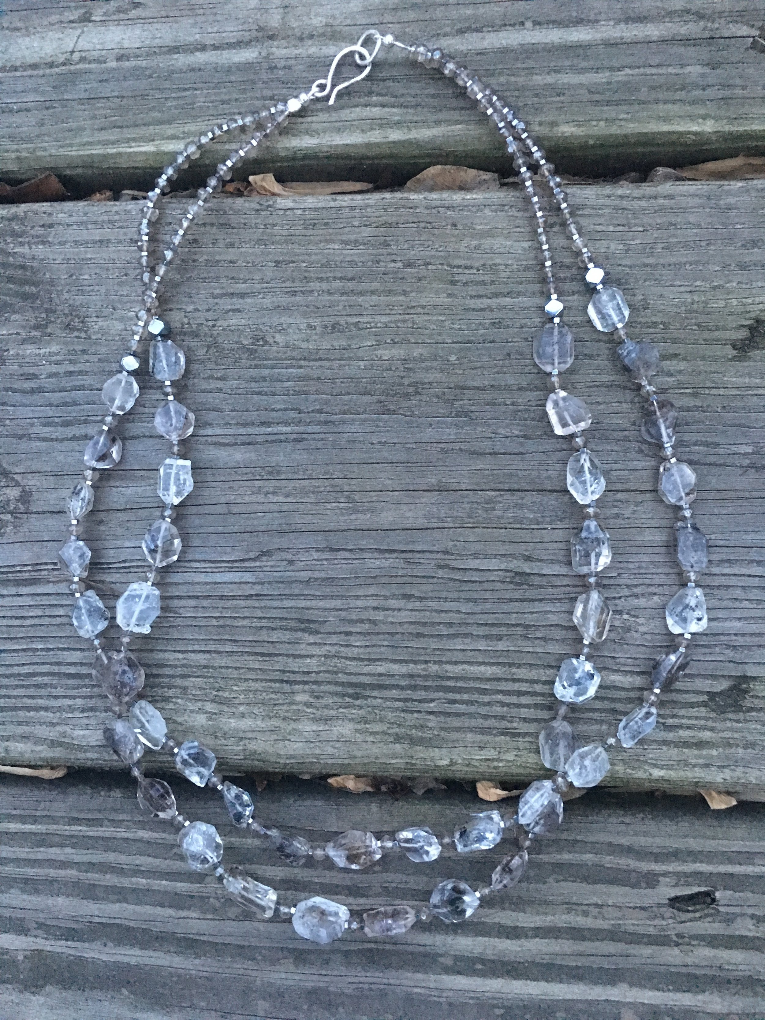herkimer diamond necklace  Herkimer diamonds, mystic topaz, sterling silver. $600