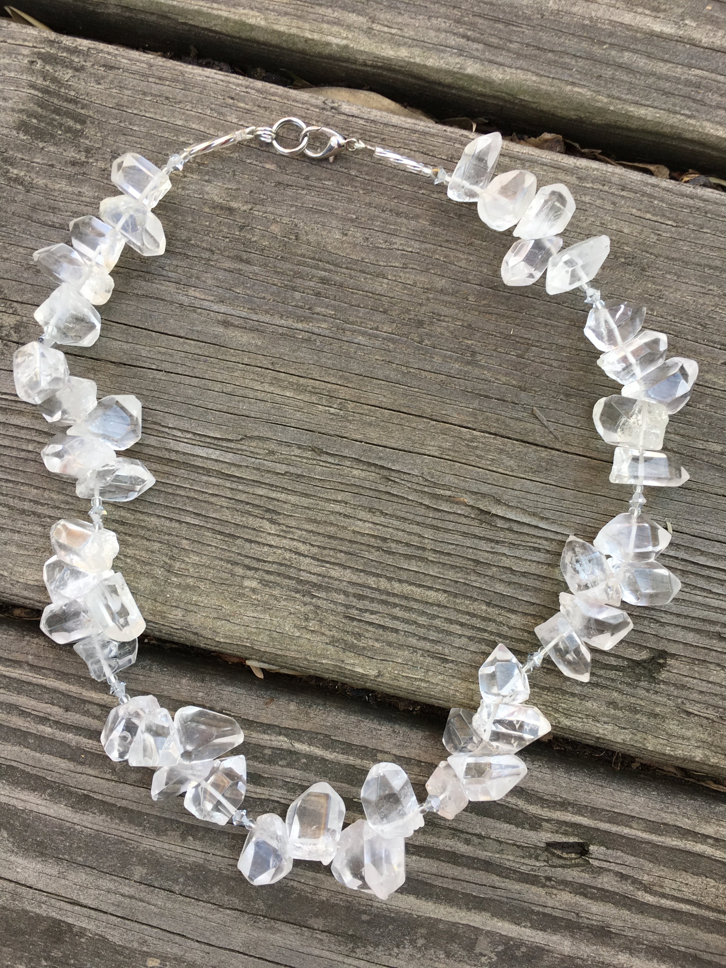 clear quartz necklace  Natural crystal points, glass beads, sterling silver clasp. 18 in. $150