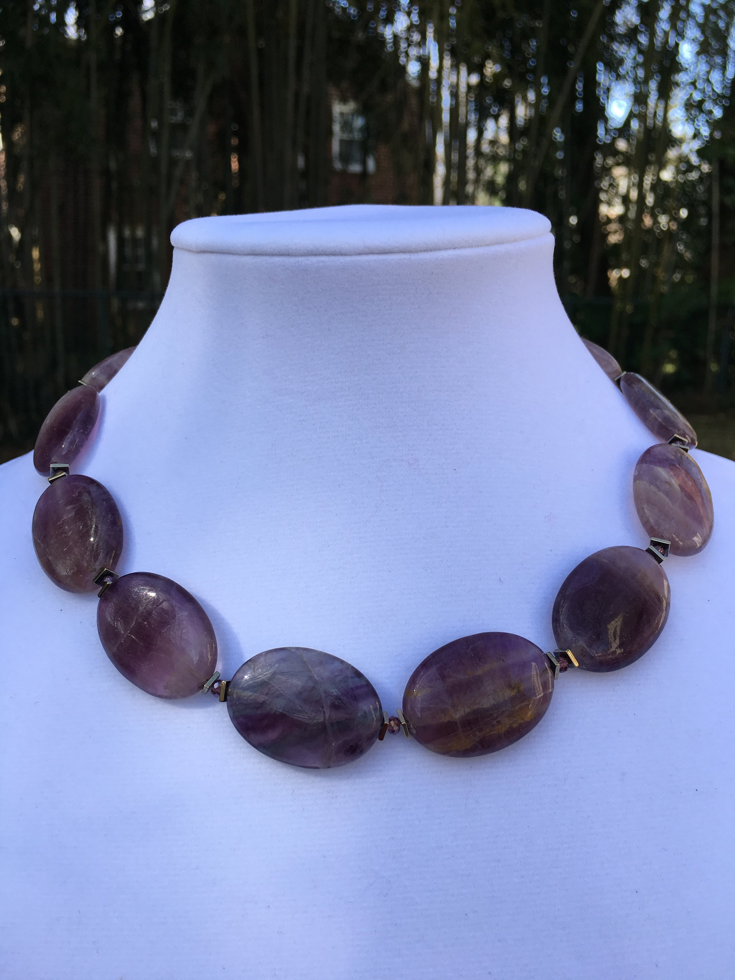 Fluorite NECKLACE  23 x 30 mm smooth oval fluorite beads. Gold filled clasp. 18 in. $180
