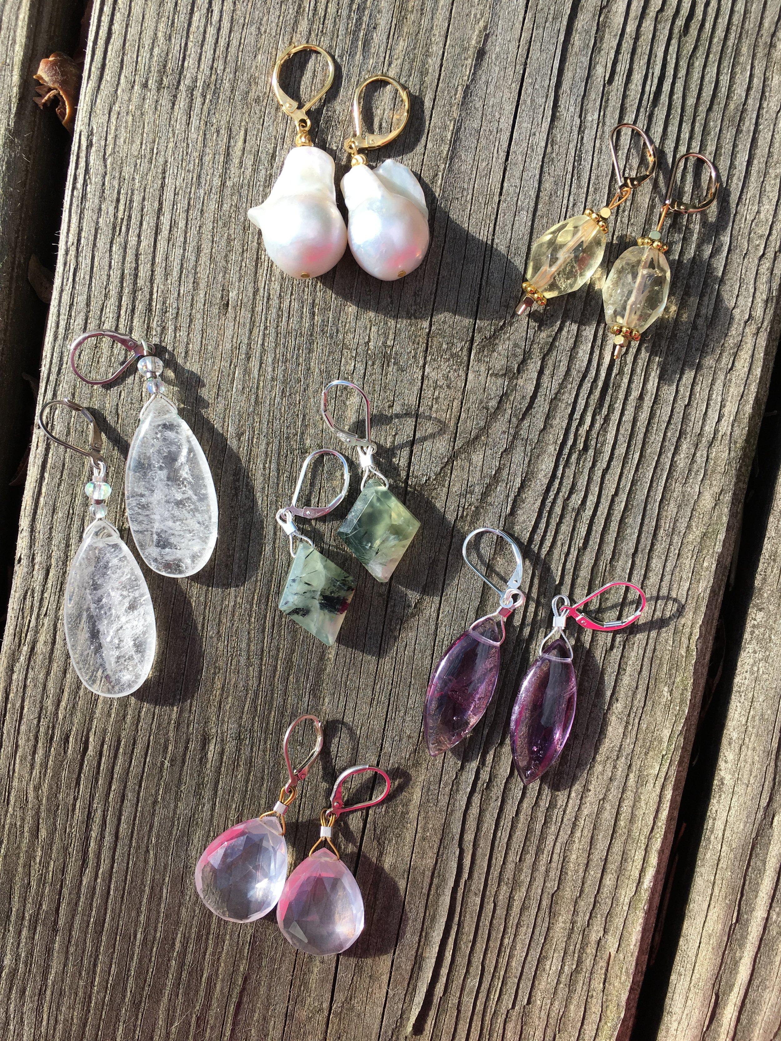 earrings  Baroque pearl $200 Citrine $40 Rutilated Quartz $40 Prehnite $40 Amethyst $40 Rose Quartz $75