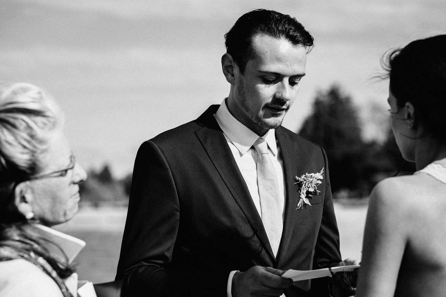 the groom reading his vows