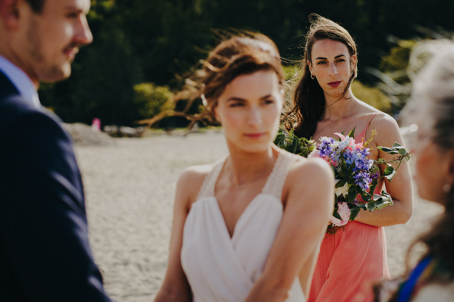 the maid of honor in the background