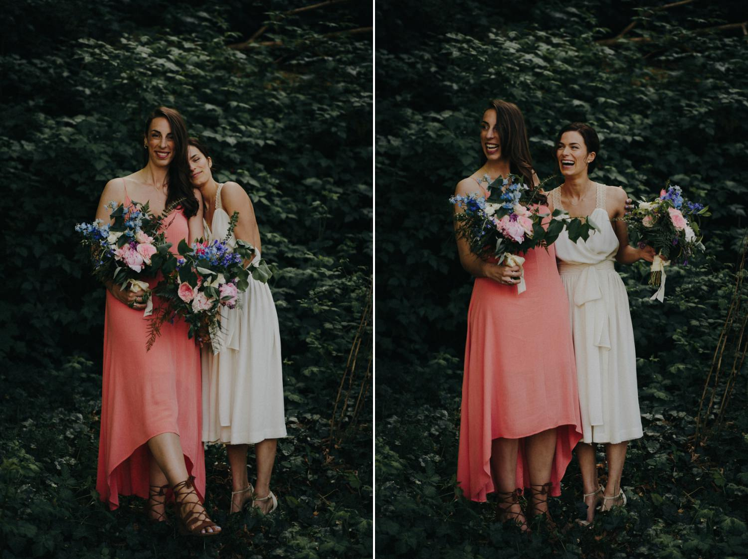 bride and maid of honor laughing