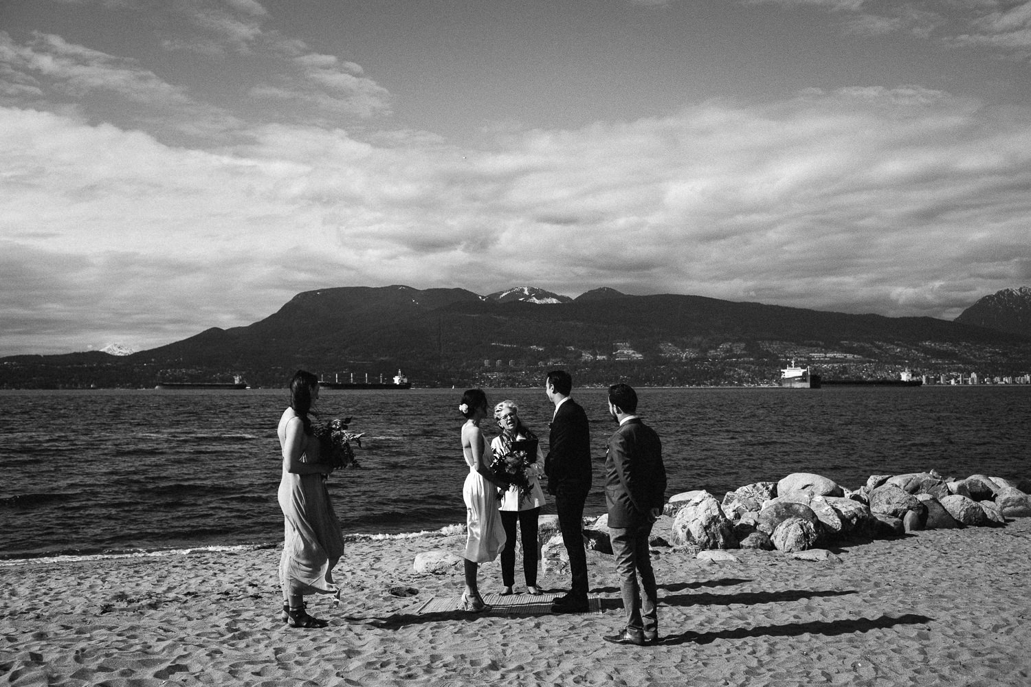 wedding ceremony on the beach in vancouver