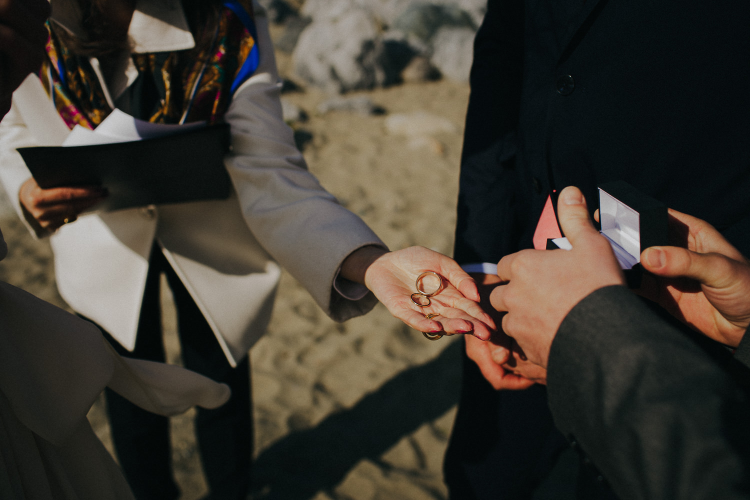 handing the officiant the rings