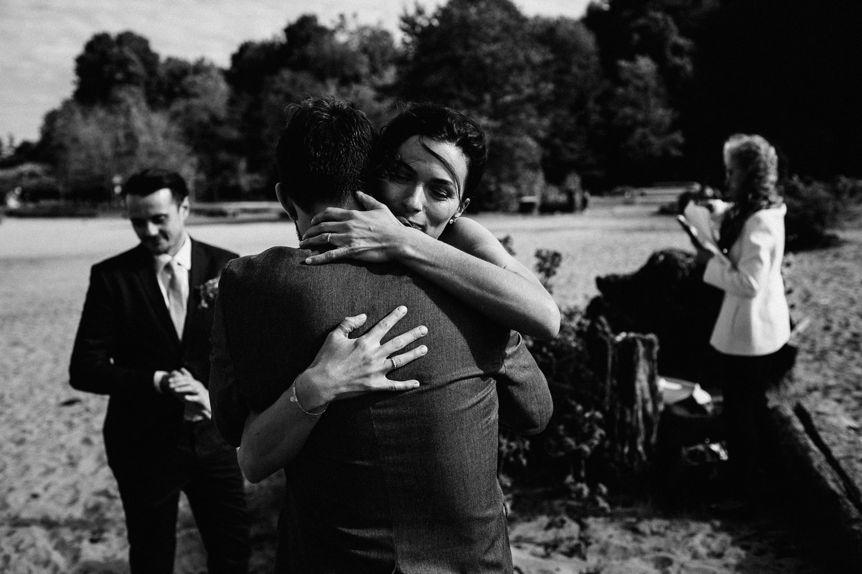 bride hugging the best man