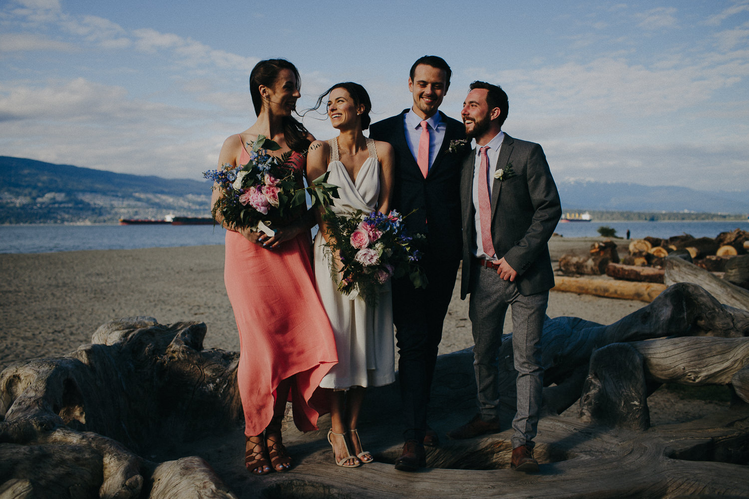 wedding party in front of spanish banks