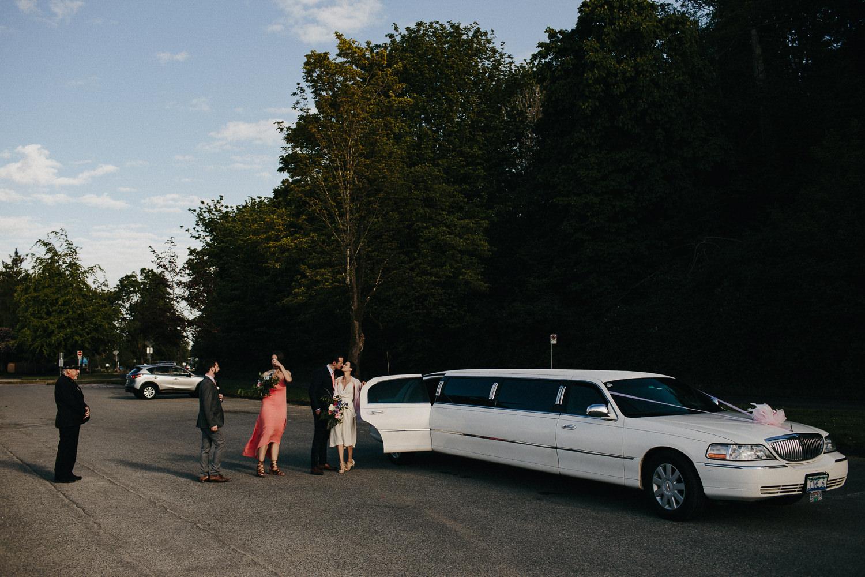limo at vancouver beach wedding