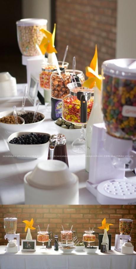 Cereal & Candy Display via Savannah Smiled