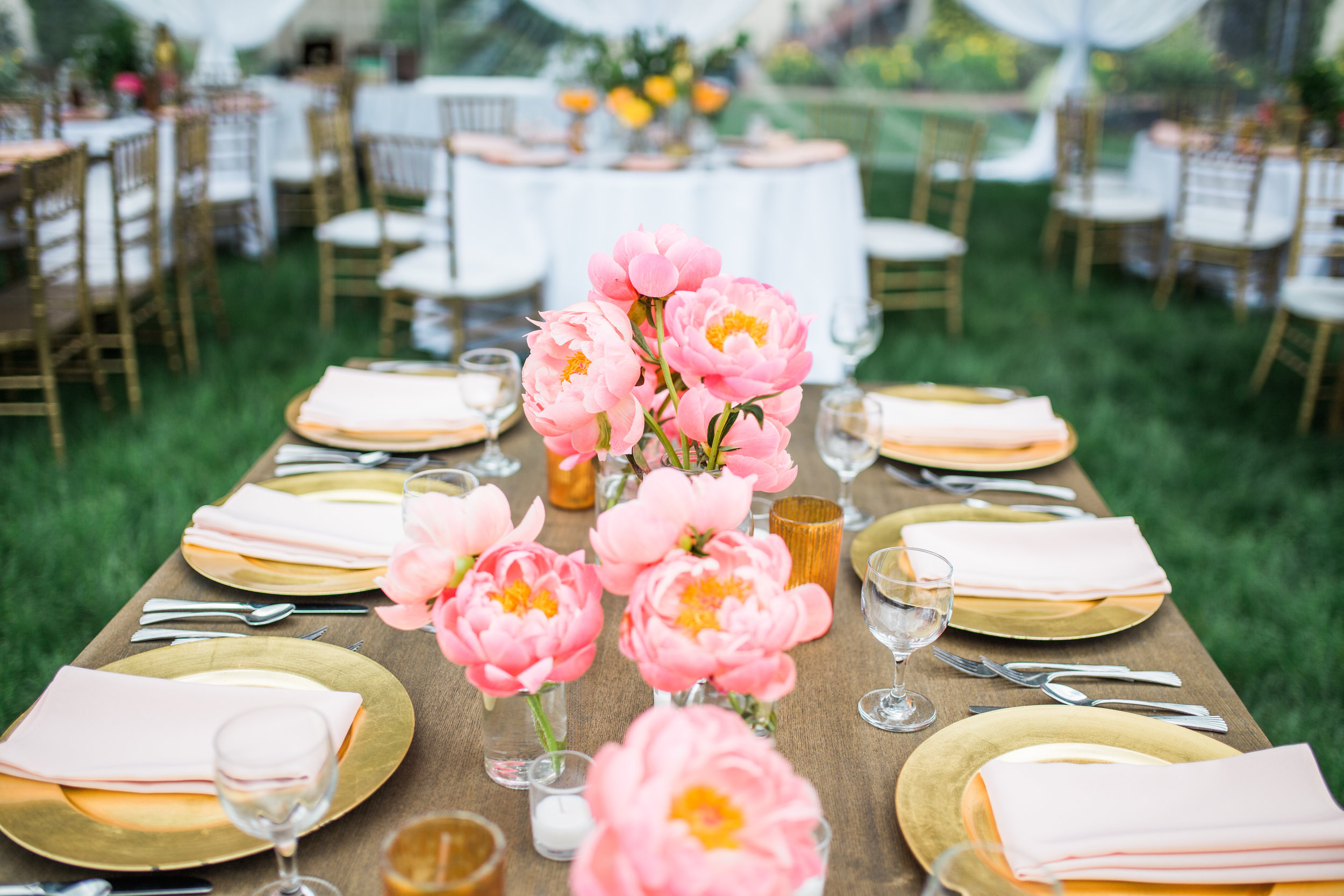 Ceremony and reception floral installations + center pieces by  Bloke Botanicals