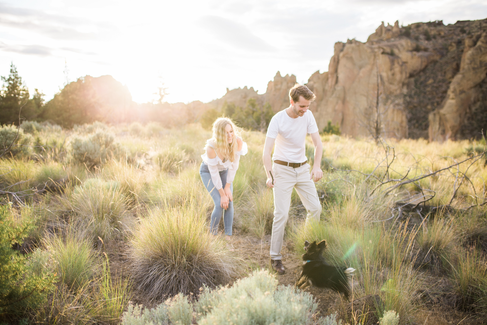 Sunset Smith Rock Engagement Session with puppy