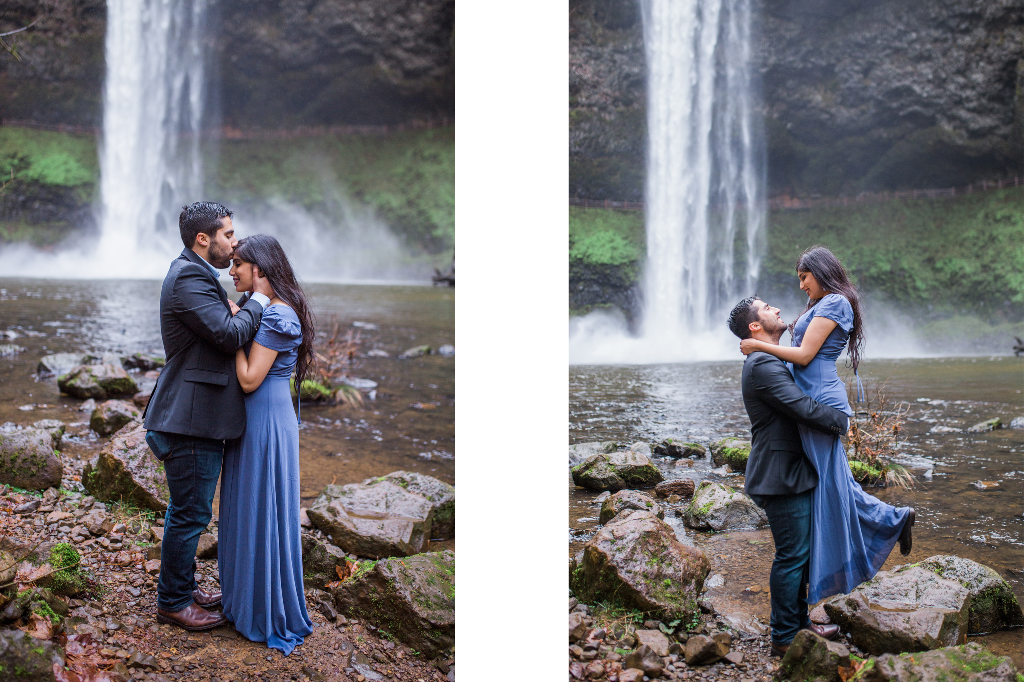 Oregon waterfall engagement session