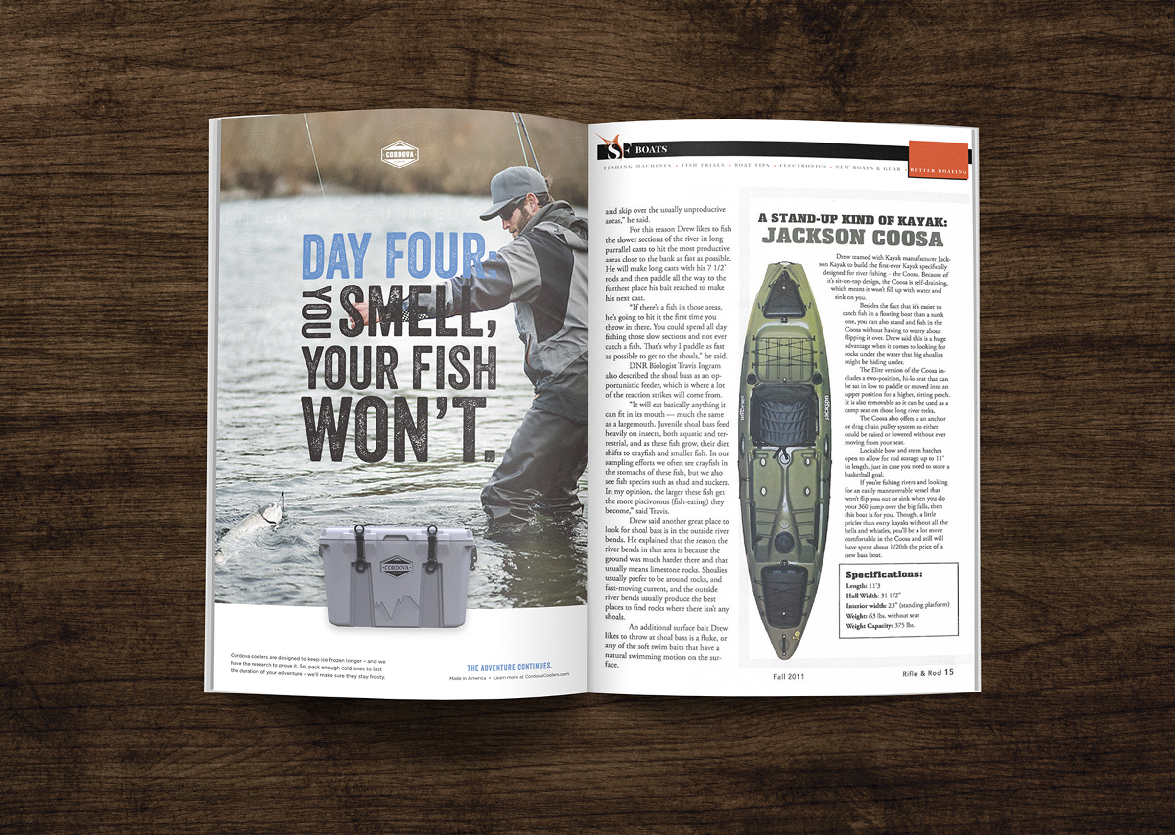 Magazine advertisement design concept for outdoor lifestyle brand Cordova Coolers