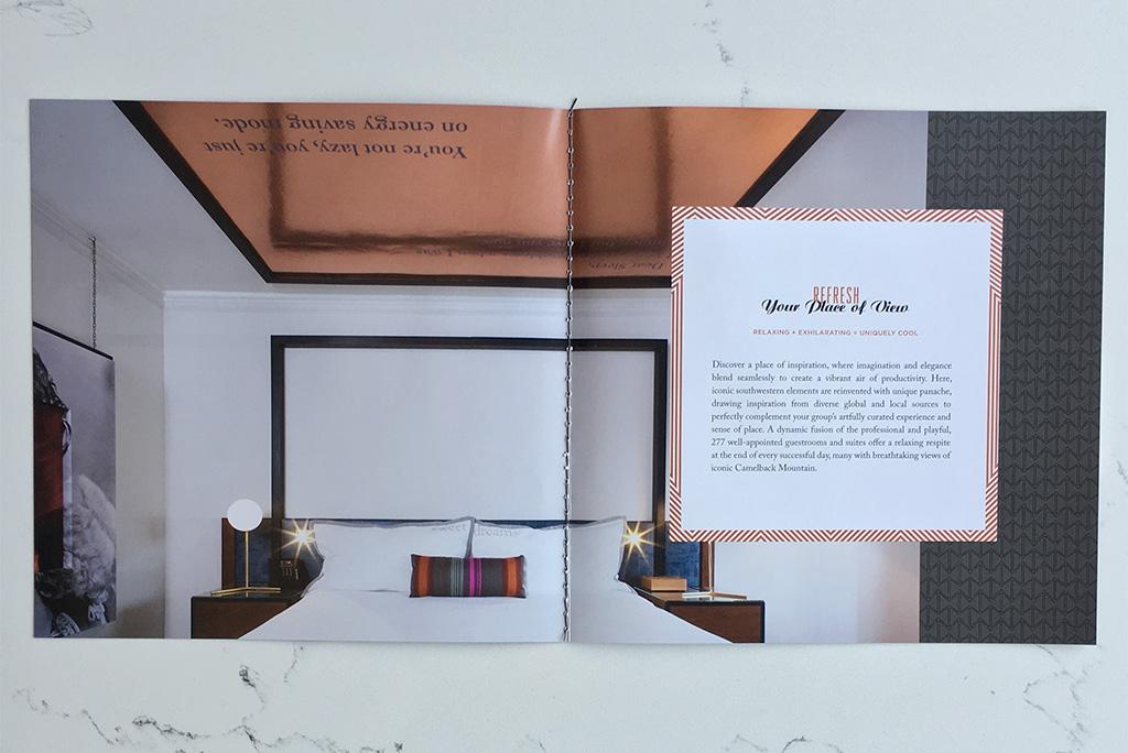 In room brochure design for luxury hotel