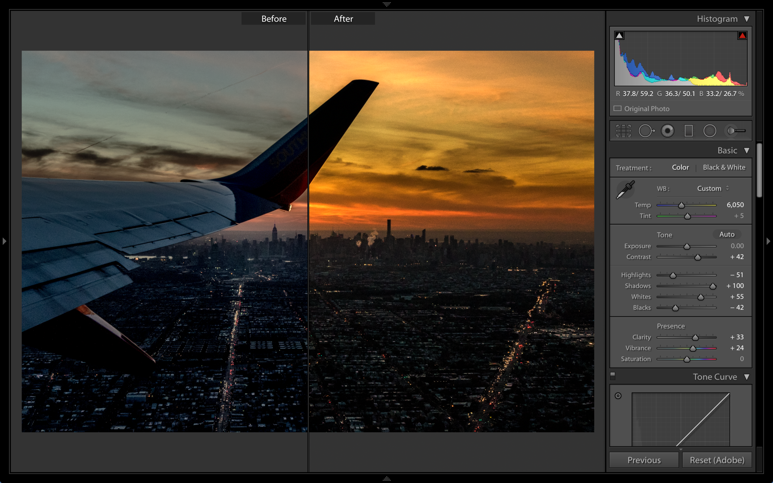 Departing NYC @ Sunset.