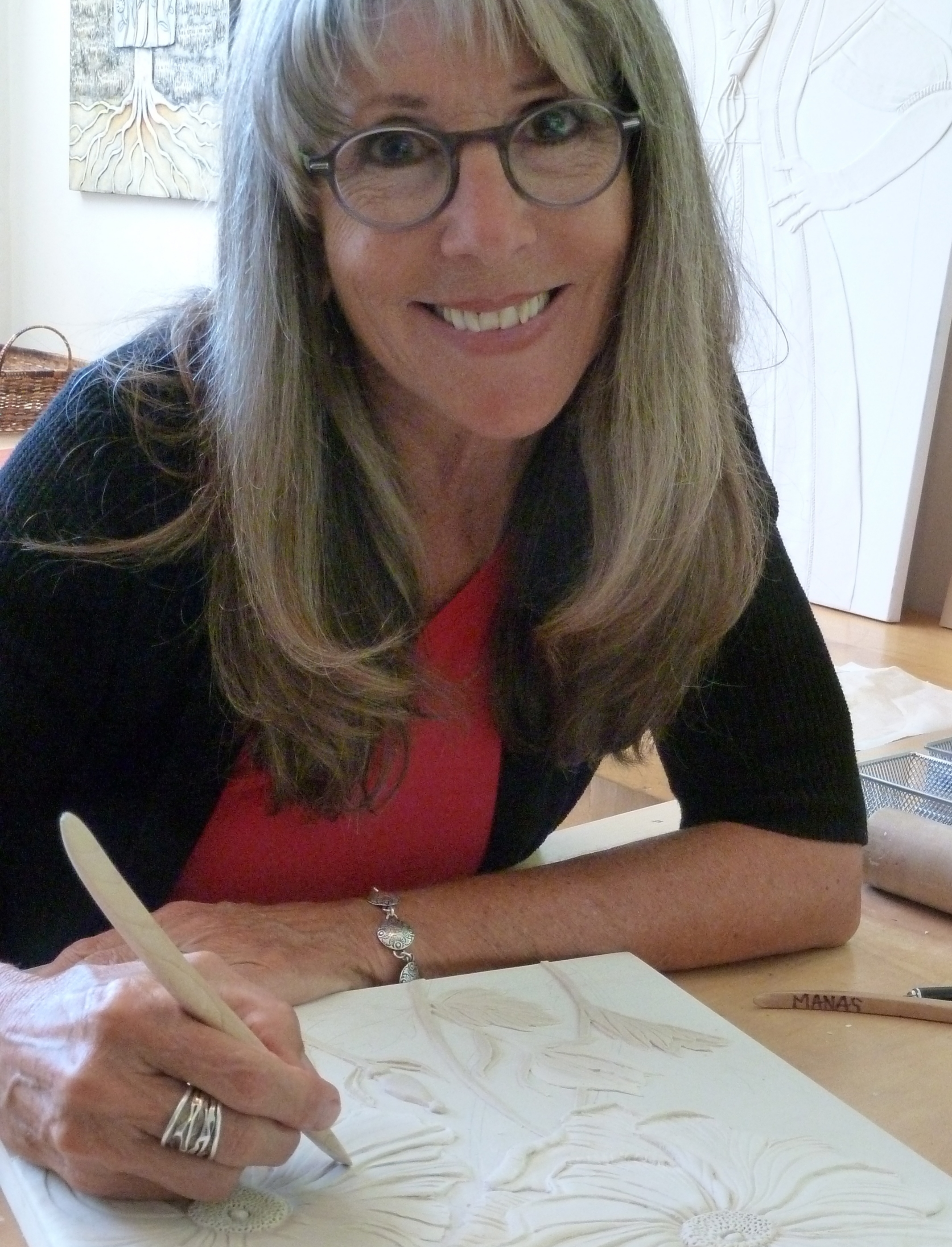 About her name...Rogene Manas...Rogene's last name is Mañas, her father was Spanish, and her mother was Italian. The family dropped the tilde when they came to the US in the early 1900's. She uses the original spelling on anything to do with her artwork to honor her heritage, but does not use it in the rest of her life. So she signs her work as Mañas, but when looking for her on the web, it's Manas.