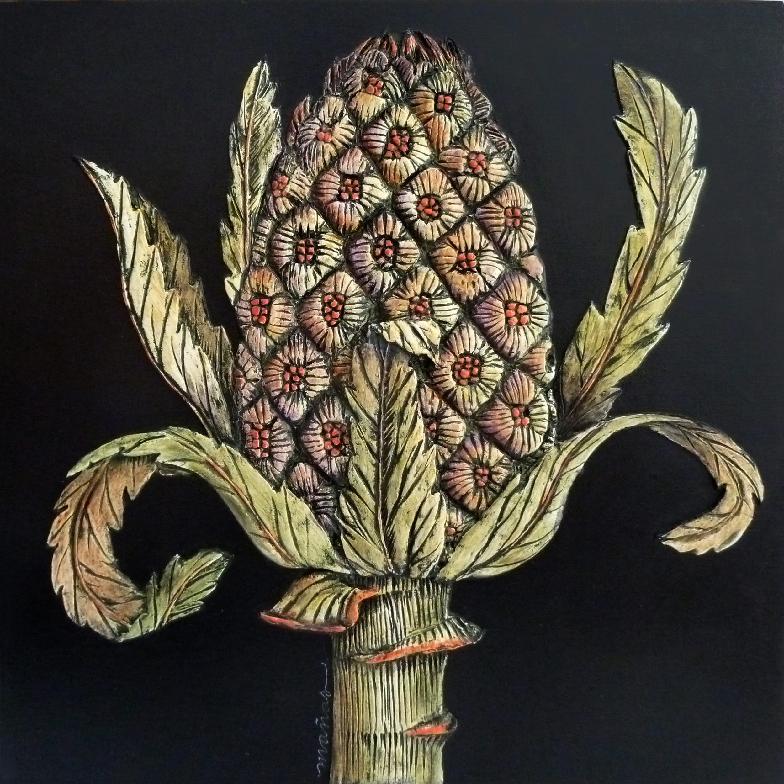 """Butterbur Capitulum  Paper clay/mixed media on wood panel  12"""" x 12"""""""