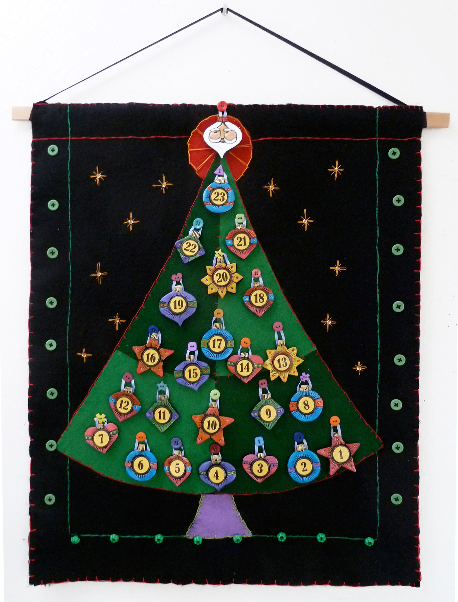 Advent calendar with ornaments.