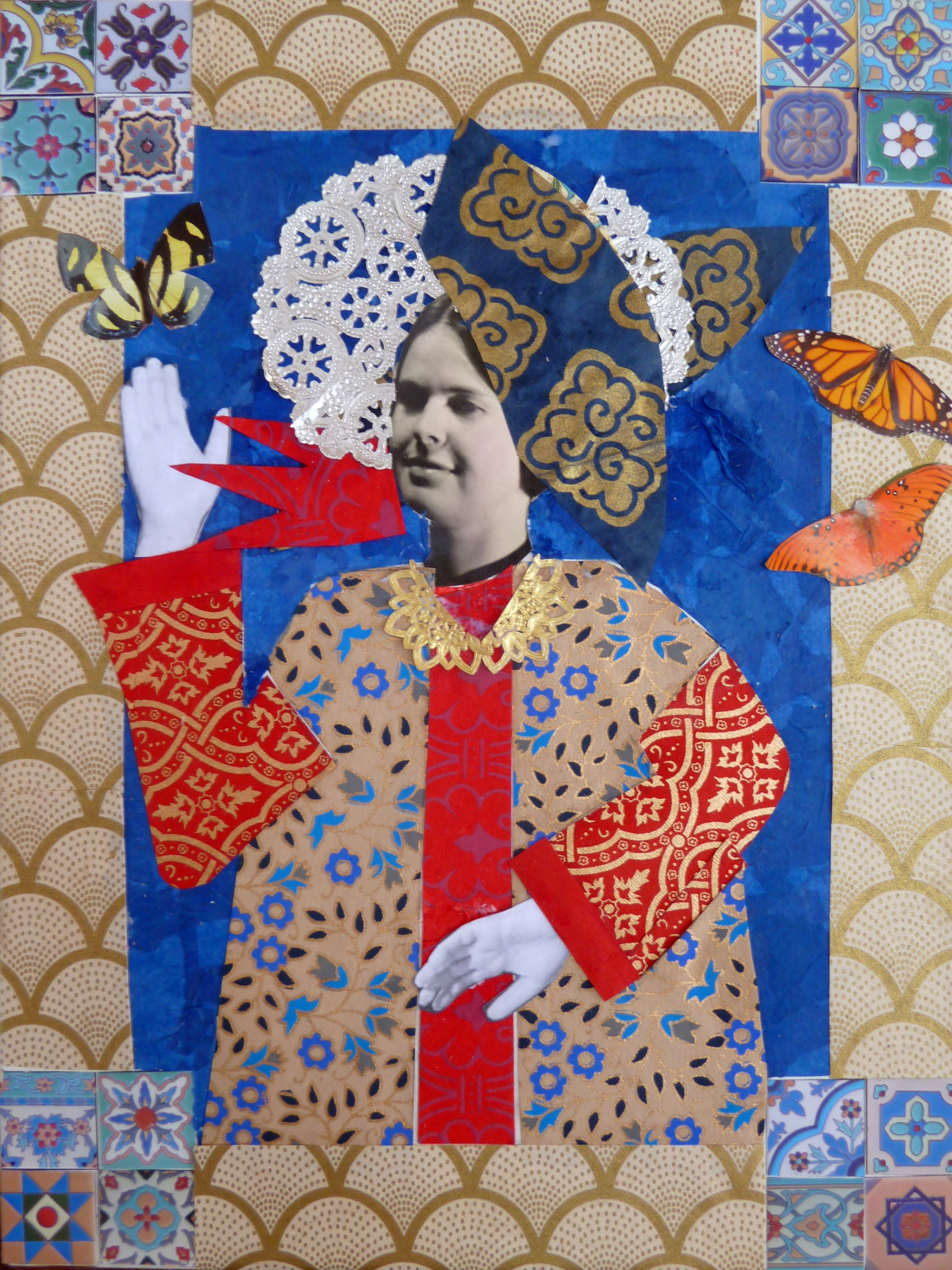 Bright color, tiled corners, butterflies and patterns.