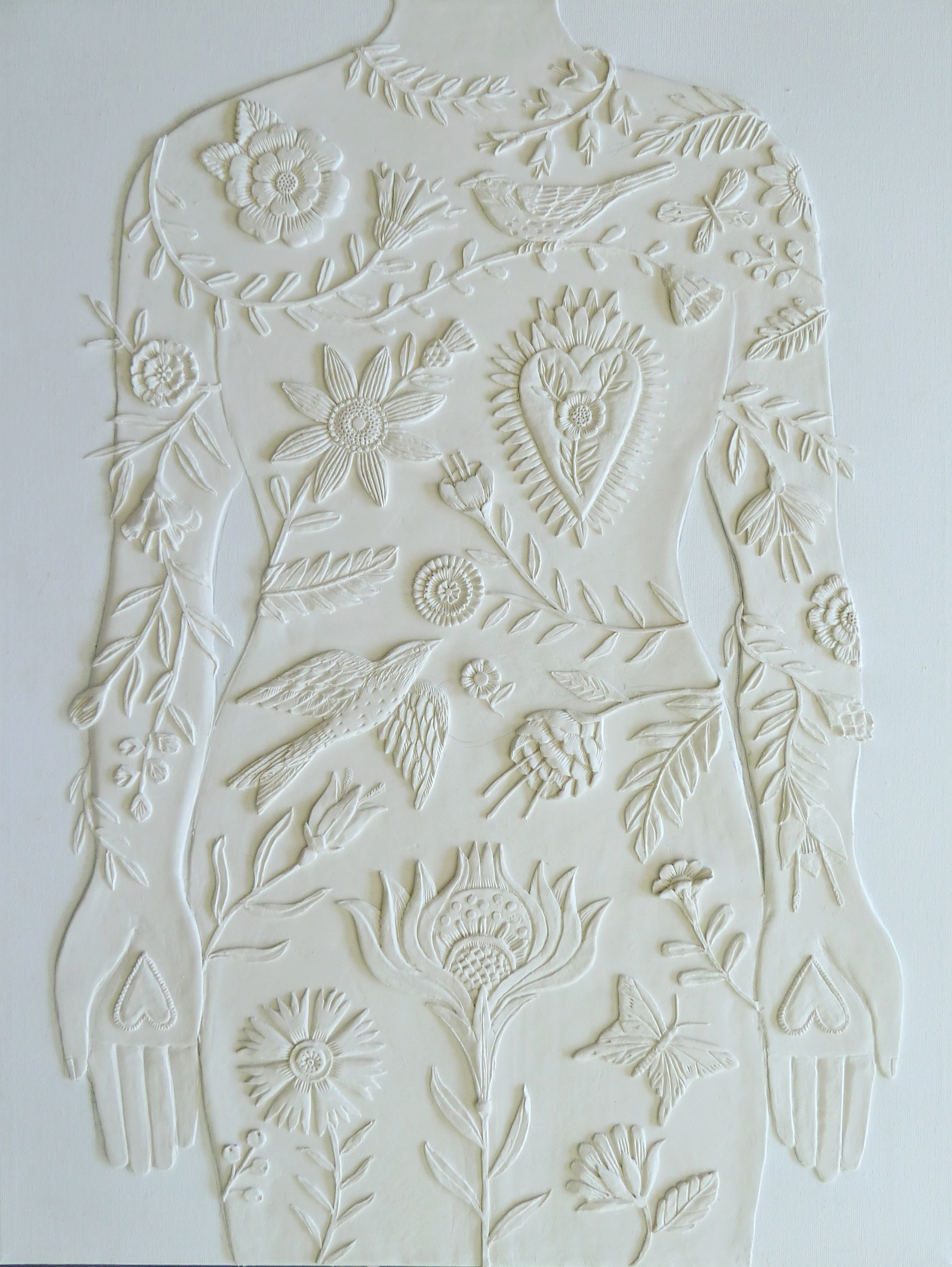 """Beginnings of a series called """"Body of Work"""" Unpainted paper clay on canvas. 18 x 24. See finished piece in my gallery...now called Garden of Eden."""
