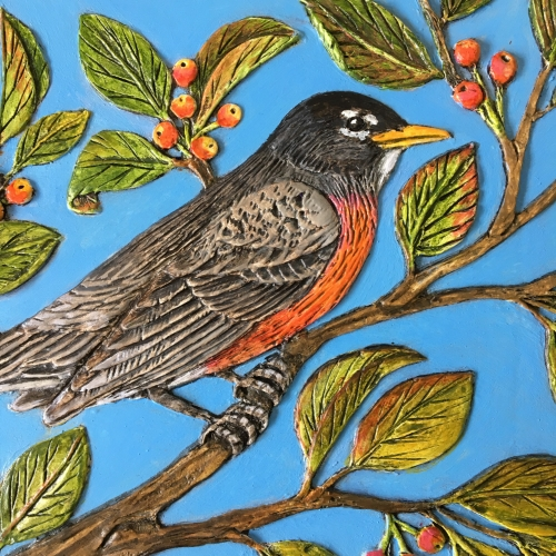 This blue sky looks too solid to me, and does nothing for the robin, who is kind of plain himself.